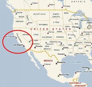 Kalifornien grenzt an Mexico an
